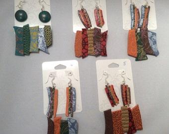 Silkscreen Polymer Clay Pendant and Earring Set