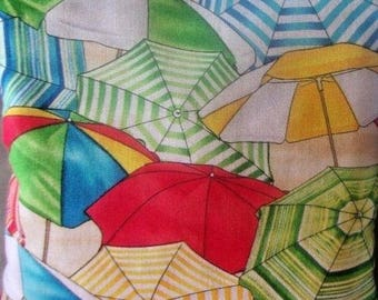 Timeless Treasures Tropical Beach Umbrellas Cotton Fabric 1/2 Yard Cut New