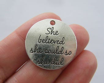 2 She believed she could so she did charms antique silver tone M911