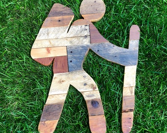 Hiking Trail Sign with Reclaimed Planked Wood Home Decor