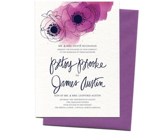 Watercolor Wedding Invitation Suite with Poppies | Custom Beet Watercolor Floral Wedding Invitation + Save The Date with Hand Calligraphy