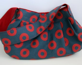 Phish Purse - Phishman Fabric (red donuts on blue) pleated purse with Kona red interior, Phish accessory