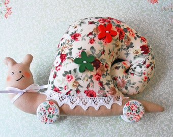 Fabric snail toy only one Exclusively Handmade Snail decor Snail collecting Not allergic