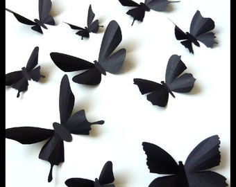 3D Wall Butterflies - 10 Black  Butterfly Silhouettes, Nursery, Home Decor, Wedding