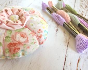 Pink Floral Round Pincushion