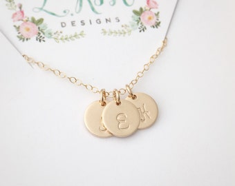 Personalized Necklace, Gold Initial Necklace, Custom Letter Necklace, Mother's Necklace, Mom Necklace, Hand Stamped Initials, 14k gold fill