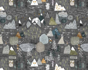 Gray map fabric etsy forest adventure map fabric by the yard baby boy fabric organic cotton fabric gray minky jersey gumiabroncs Choice Image