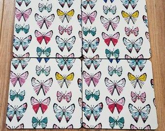 Butterflies Tumbled Stone Coaster Set