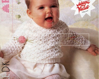 Baby Textured Sweater 41-56cm 16-22in DK Patons 8363 Vintage Knitting Pattern PDF instant download