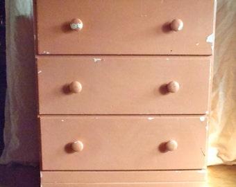Vintage Wood Dresser 3 Drawer Shabby Pink
