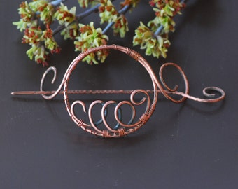 Hair Accessories Copper Hair Barrette Bun Holder Hair Slide Hair Pin Hair Stick Hair Sticks Rustic copper accessories Shawl pin Scarf brooch