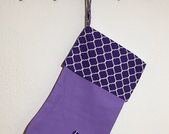 TCU Stocking purple with purple tile and horned frog appliqué Christmas Stocking RTS TCU Christmas tcu Decor