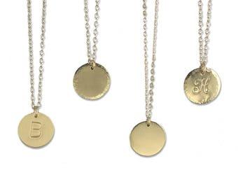 Gold Circle Necklace, Medium Gold Circle Necklace, Gold Disc Necklace, Circle Necklace, Bridesmaid Necklace, Medium Disc Necklace 16MM LC102