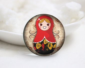 Round Glass Photo Cabochons Photo Glass Cabs-Russian Doll (P2706)