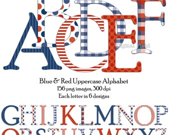 Blue, white & red uppercase alphabet clip art set - printable digital letters - instant download