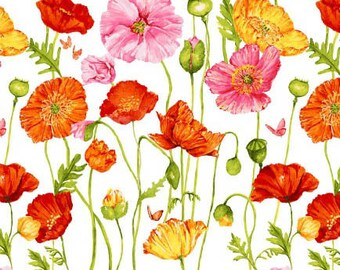 Poppy Garden - Poppies on White from Clothworks