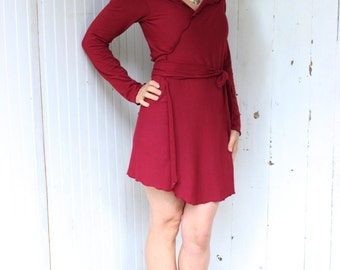 Long Sleeve Everyday Wrap Tunic - Organic Cotton Blend - Made to Order - Many Colors Available - Eco Fashion - Boho Chic