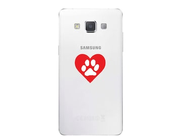 Heart Paw Cell Phone Decal Valentine Pet Dog Love Sticker C396