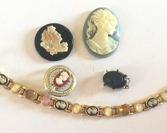 Lot of  Salvaged Vintage Assorted Cameo Jewelry  Parts and Pieces
