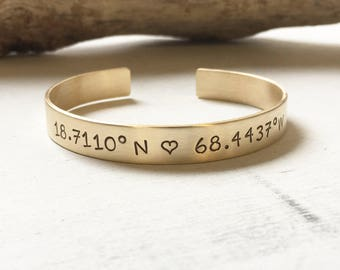 Coordinate Bracelet, Coordinate Jewelry, Cuff Bracelet, Gift for Her, For Her, Sister Gift, Best Friend Gift, Gold, Rose, Copper, Silver