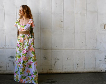 Vintage White Floral Scoop Neck Long Maxi Dress with Pockets|Empire Waist Dress|Eco Dress|Short Sleeve Dress|Plus Size Dress|Maternity Dress