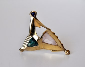Signed Abstract Gemstone Brooch
