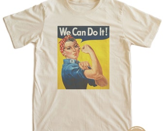 Vintage Poster Rosie the Riveter Organic T-shirt 100% Organic Cotton