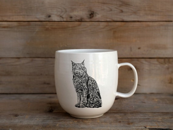 Handmade Porcelain coffee mug with Canada lynx drawing Canadian Wildlife collection