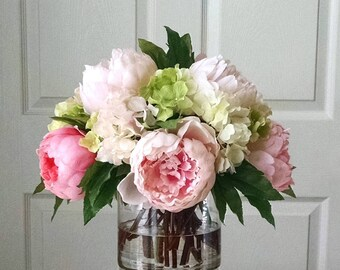 Silk flower arrangement etsy silk flower arrangement large real touch peonies and real touch hydrangea arrangement dining mightylinksfo