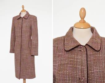 Vintage 1980s brown tweed wool coat - size S/M