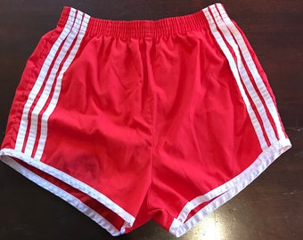 Vintage 1980's Running Shorts/ Racing Stripes/ Small