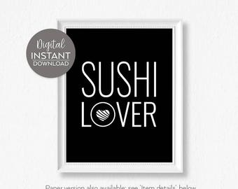 Food art / Kitchen wall art / Gift for boss / Fish / 'Sushi Lover' / Healthy eating / DIGITAL DOWNLOAD