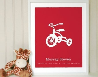Vintage Trike Baby Name Birth Childs Room Keepsake Print - The Perfect New Baby Gift
