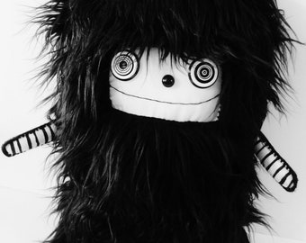 POLKADOTTYDOLL - Art Doll Plush Kawaii Plushie OoAK Soft Sculpture Black Faux Fur Modern Art - LYNDA BLACK