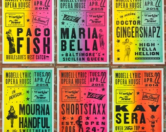 3 for 50 You choose, Globe burlesque woodtype letterpress printed posters.