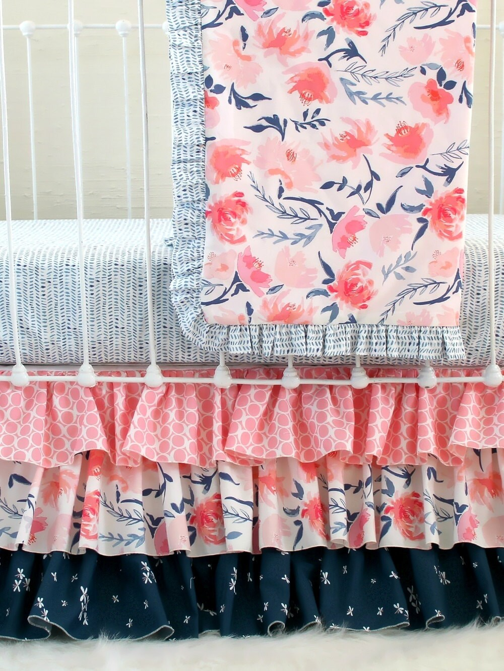 Watercolor Floral Crib Bedding Pink And Navy Baby Bedding