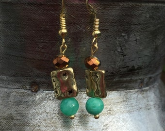 Turquoise & Pink gold dangles