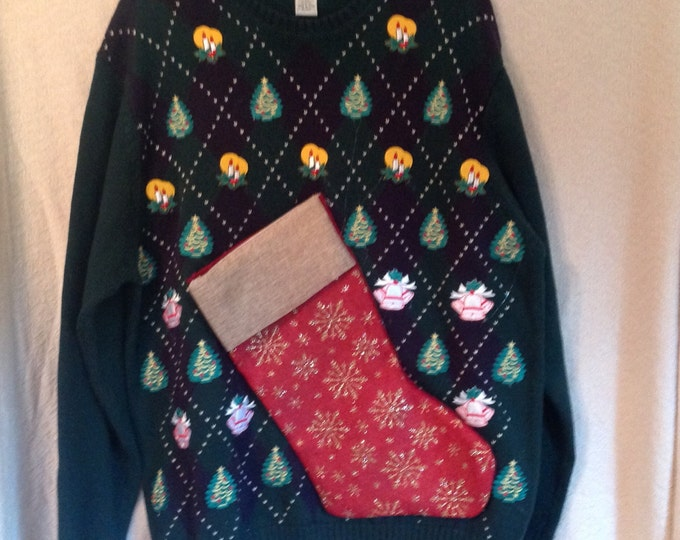 Featured listing image: Men's Ugly Christmas Sweater L Party Hand Made Sweater with Bottle Pocket Wine Carrier Sweater BYOB Pocket
