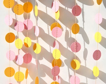 Pink yellow paper garland, Birthday party decor, circle garland, Girls party decor, first birthday party, baby nursery decor, KC-1042