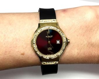 HUBLOT 18K Solid Yellow Gold Ladies Watch w/ DIAMONDS & Original Black Rubber Band