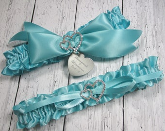 Robin's Egg Blue Wedding Garter Set, Personalized Satin Bridal Garters with Engraving and Rhinestone Linked Hearts