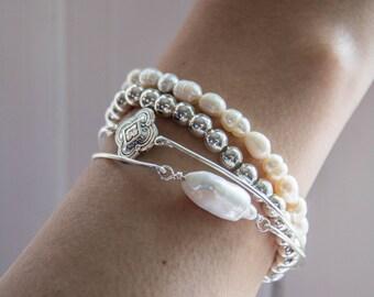 True North/Bangle & Stretch Bracelet Set/Pearls and Silver stacking bracelet set/Wedding Bracelets/Beach Bracelets/Boho Chic