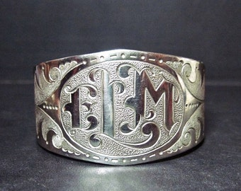 Vintage Silver Tone Cuff Bracelet - Wide - Initials ELM - For Small Wrist