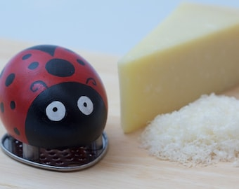 Cheese Grater, Ladybug, Ladybird, Hand Painted, Black, Red, Wooden, Kitchen Gift, Cute Gift Idea
