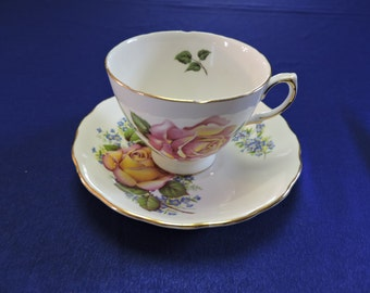 Vintage Royal Vale Porcelain Pink with Yellow Rose Tea Cup and Saucer