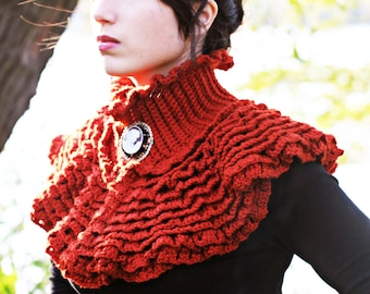CROCHET PATTERN: Ruffled Victorian Cowl - Permission to Sell Finished Product