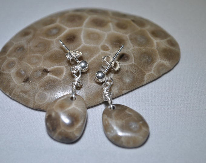 Petoskey stone earrings, Up North Michigan, Lake Michigan, sterling post earrings