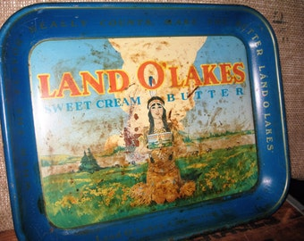 Vintage Land O'Lakes Sweet Cream Butter Tray - Vintage Lake O'Lakes Blue Tray - Vintage Land O'Lakes Butter Tray