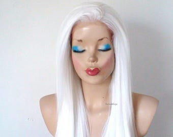 Lace Front wig. Snow white wig. Long straight hair with soft layers wig. Durable heat friend wig. Custom wig. Cosplay wig.