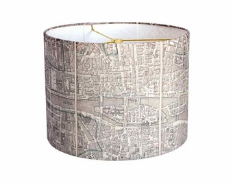 X-LARGE Linen Paris Map Lamp Shade - Neutral French Vintage Map Lampshade  - 16 17 18 Inch Drum Lampshade - Custom Made to Order Lamp Shade